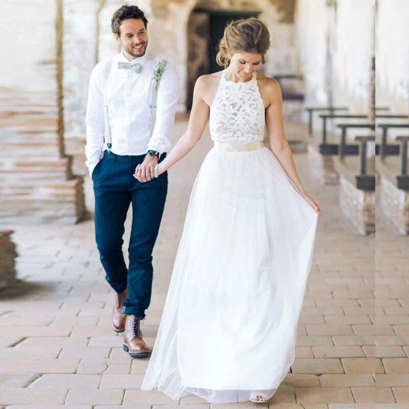 Robe де Mariage 2020 Summer White / Ivory Тюль Кружево Богемия Бич Свадебные платья Простой Холтер шеи Backless Свадебные платья vestidos де Noiva