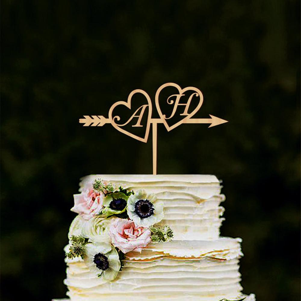 Wedding Cake Topper.Wedding Cake Topper Wood Initials Gold Silver Custom Heart Arrow Cake Topper With Initials Wedding With Hea
