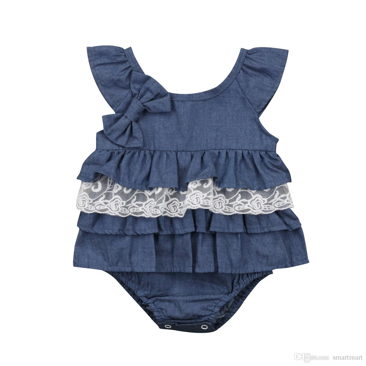 a0e968a465a6 2019 Everweekend Ins Fashion Baby Girls Denim Ruffles Rompers Summer  Vintage Lace Ruffles Cute Toddler Kids Clothing From Smartmart