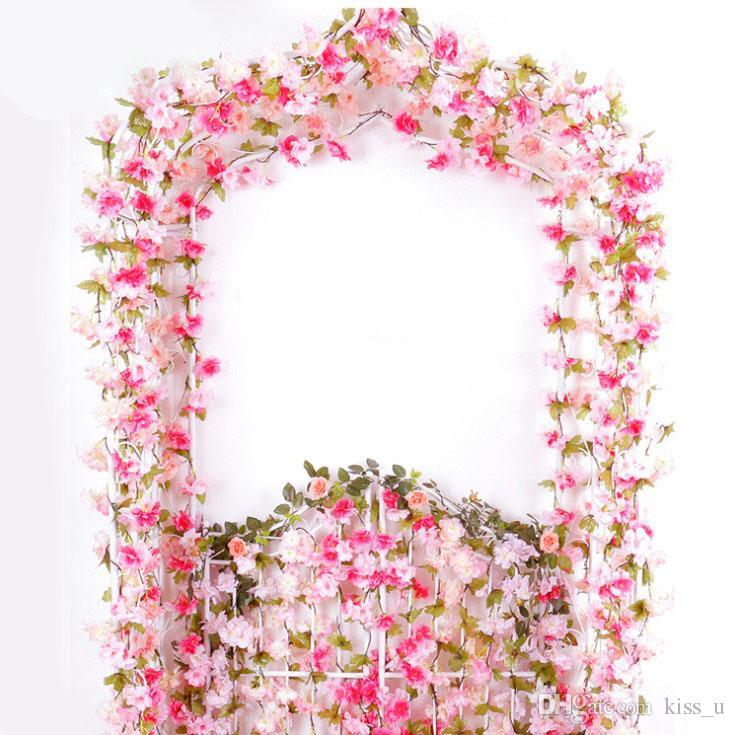 Acheter 2 2 M Rose Cerise Fleur Diy Artificielle Rose Guirlande