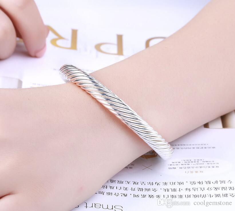 Luckyshine Holiday Gift Shiny Antique Pure 925 Sterling Silver Open Adjustable Bracelets Bangles Russia Bangles