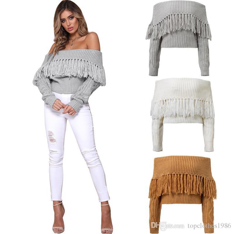 de000bdc44035 2018 Autumn Women's Fashion Bodycon knitwear Crop-top Sexy Bare-midriff off  shoulder long sleeve Tassels Sweater knitwear
