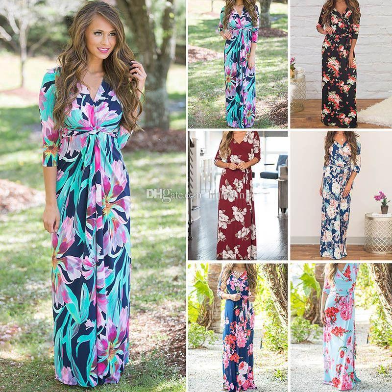 72783ef24d7b 2019 Women Floral Print Long Sleeve Boho Dress Evening Gown Party Flower  Print Dress 2018 Summer Beach Dress C4212 From Angela918