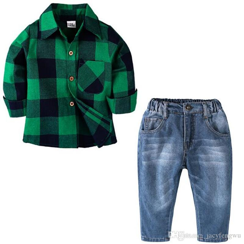 6c98ff82e8e7 Baby Boy Clothing Shirt+pants 2pcs gentleman outfit kids causal Jeans sets children  cotton baby sets tops pants Cotton cloths 0-7 CQZ149
