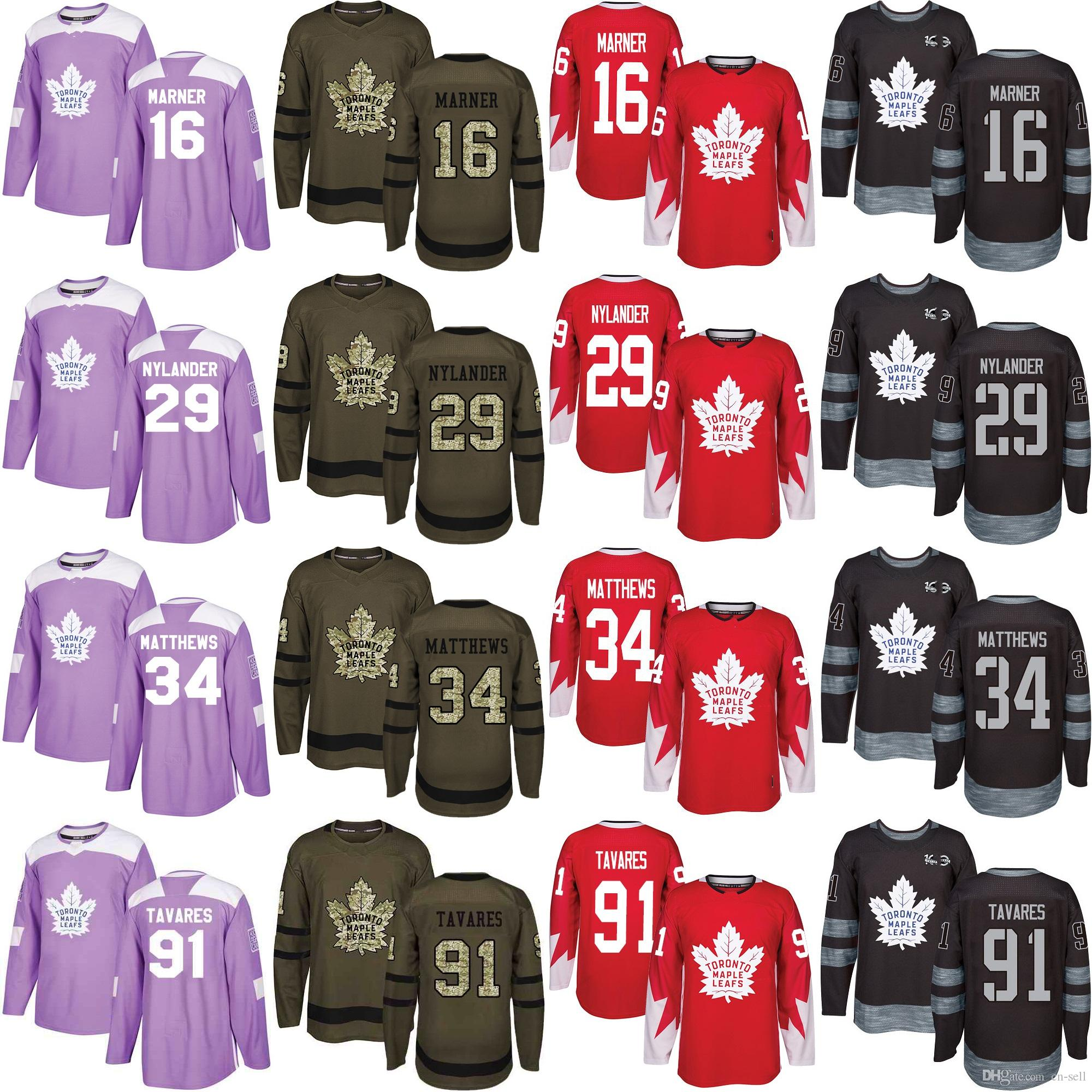 free shipping 0287c cc5de 91 Tavares Blank 29 William Nylander 16 Mitch Marner 34 Matthews Toronto  Maple Leafs Hockey Jersey Salute to Service Fights Cancer Red