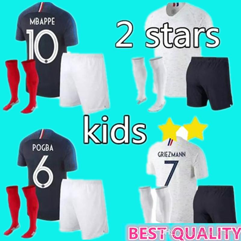 check out e6bcf fdfa0 2 stars Kids kits 2018 POGBA jersey GRIEZMANN KANTE Mbappe Football Jerseys  shirts 18 19 child youth home away maillots de foot