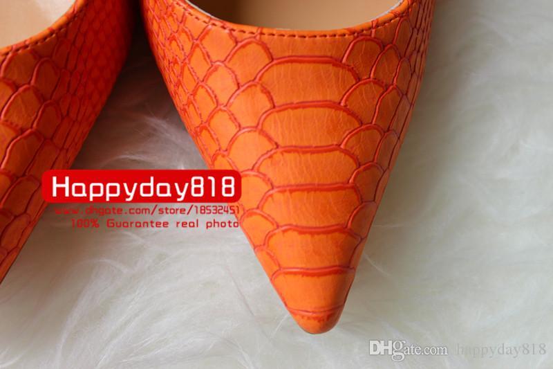 Ücretsiz kargo Moda seksi lady kadınlar Turuncu yılan python noktası toe ayakkabı yüksek topuklu ince topuklu ayakkabılar pompalar hakiki deri 120mm Büyük boy