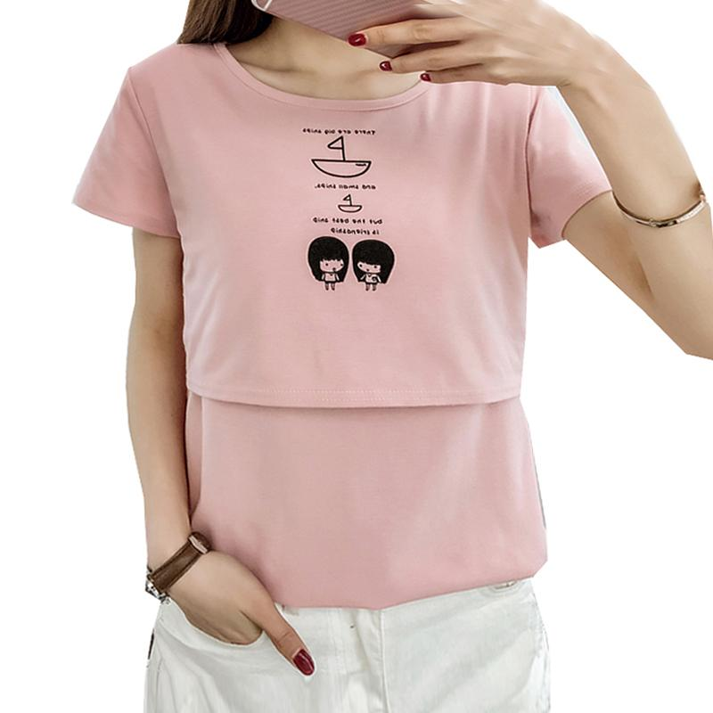 5b0105fad2 2019 Summer Short Sleeve Cotton Nursing Tops T Shirt For Pregnant Cute Girl  Pattern Breast Feeding Top Tee Maternity Clothes From Dejavui