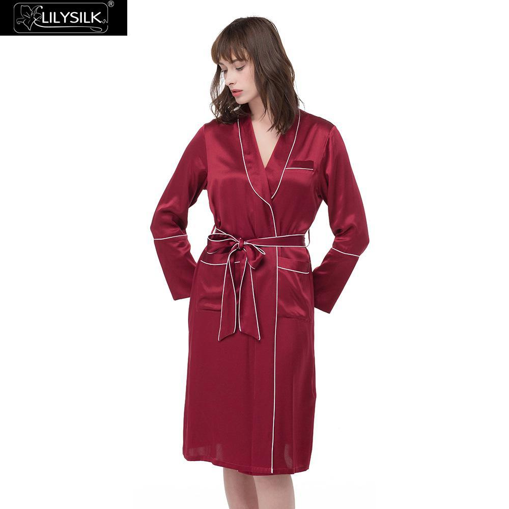 2018 Lilysilk Silk Bathrobe Dressing Gowns For Women Suit Clothes ...
