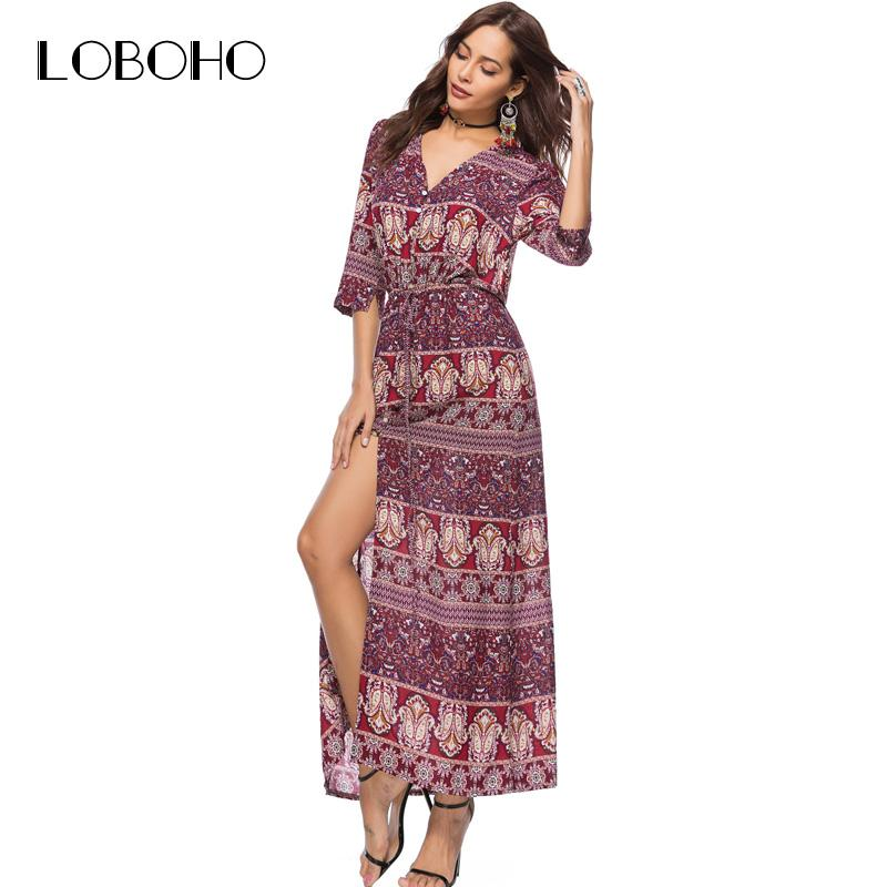 d38ef661a5 2019 Fashion 2018 Summer Dress Boho Style Chiffon Floral Print Maxi Dress  Half Sleeve V Neck Open Slit Holiday Long Dresses For Women From  Whitecloth, ...