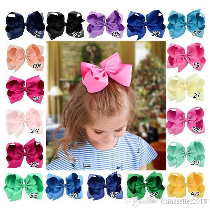 2019 6 Inches Hair Bows For Girls Grosgrain Boutique Hair Bow Clips