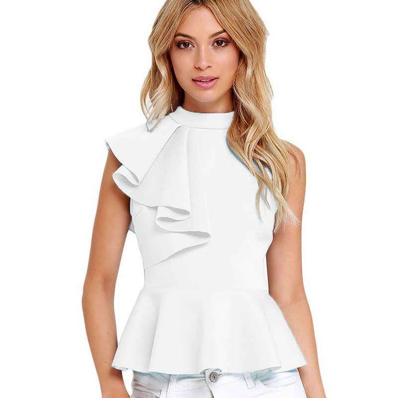 7b28bc2b55b 2019 2018 Fashion Summer Ruffle Sleeveless Shirt Women Vintage White Office  Blouse Female OL Work Tops Plus Size Women Blouses Blusas From Zhang110119