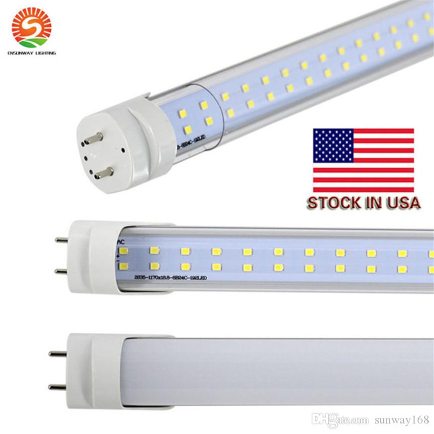 Stock en EE. UU. + 4 pies Led T8 Tubes luces Single / Doubles Sides 18W 22W 25W 28W Led Tubos de luz de repuesto Regular Tubos AC85-265V