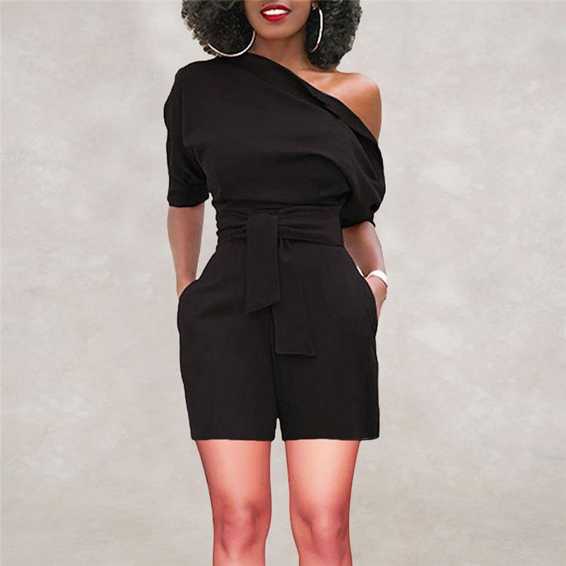 4b2540b8b0d9 2019 2018 Hot Sale Women S Summer Jumpsuit Sexy Off Shoulder Ruffle Short  Romper Fashion Casual Party Jumpsuit Rompers Holiday  J28 From Cailey