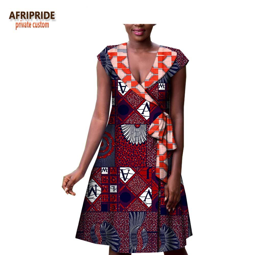 7a61f8482da 2019 2018 African Print Apring Casual Dress For Women AFRIPRIDE Short Sleeve  Noteched Collar Knee Length Women Cotton Dress A1825023 From Weilad