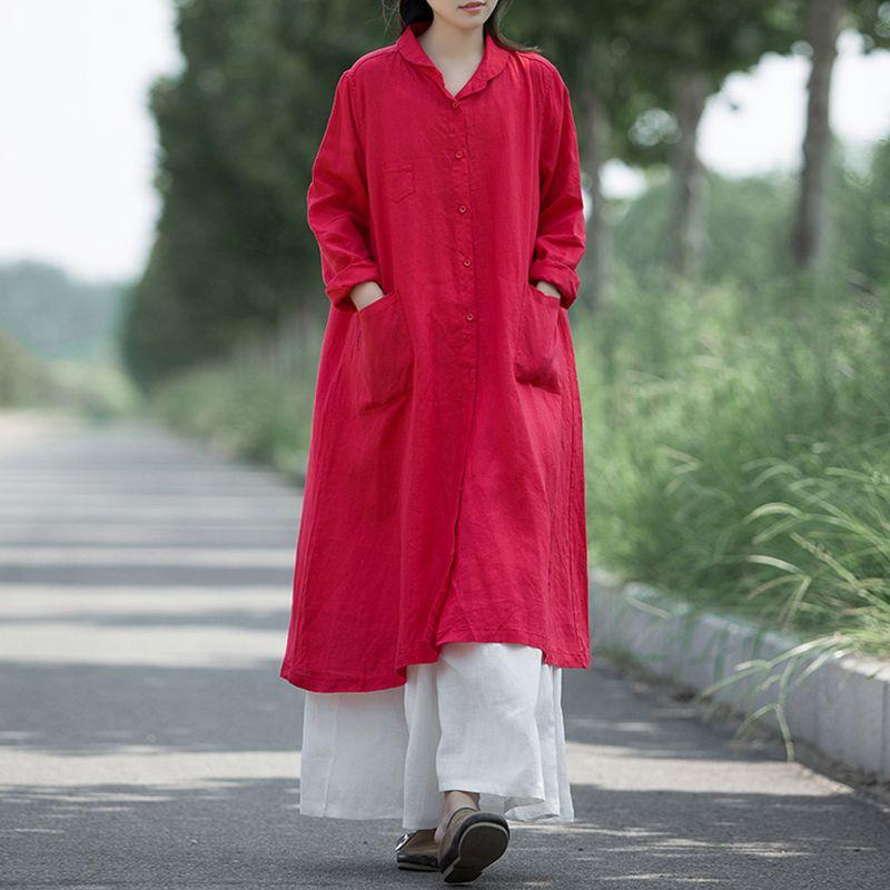 d965ba6a96 Cotton Loose Women Long Maxi Dress Plus Size Full Sleeve Turn-down Collar  Vintage Button Solid Oversize Dresses Casual Vestidos Dresses Cheap Dresses  Cotton ...