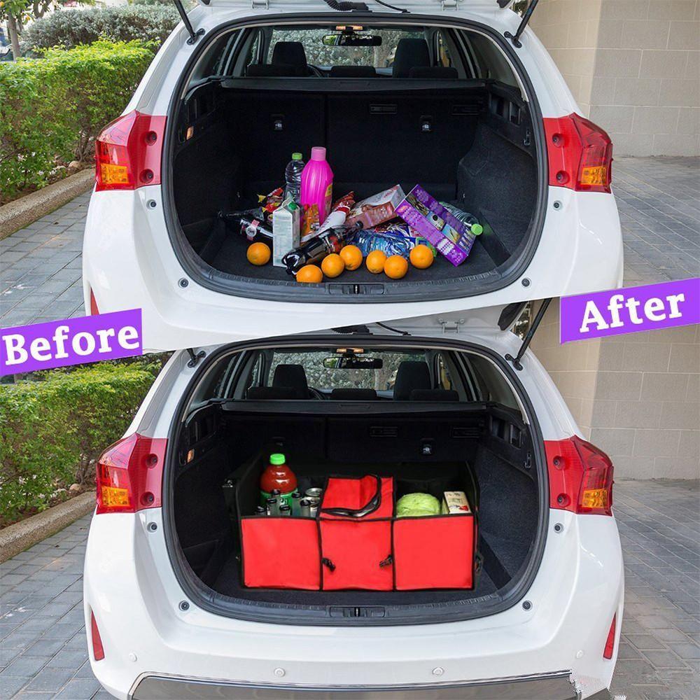 Foldable Multi Compartment Fabric Hippo Car Truck Van SUV Storage Basket Trunk Organizer and Cooler Set car trunk organizer