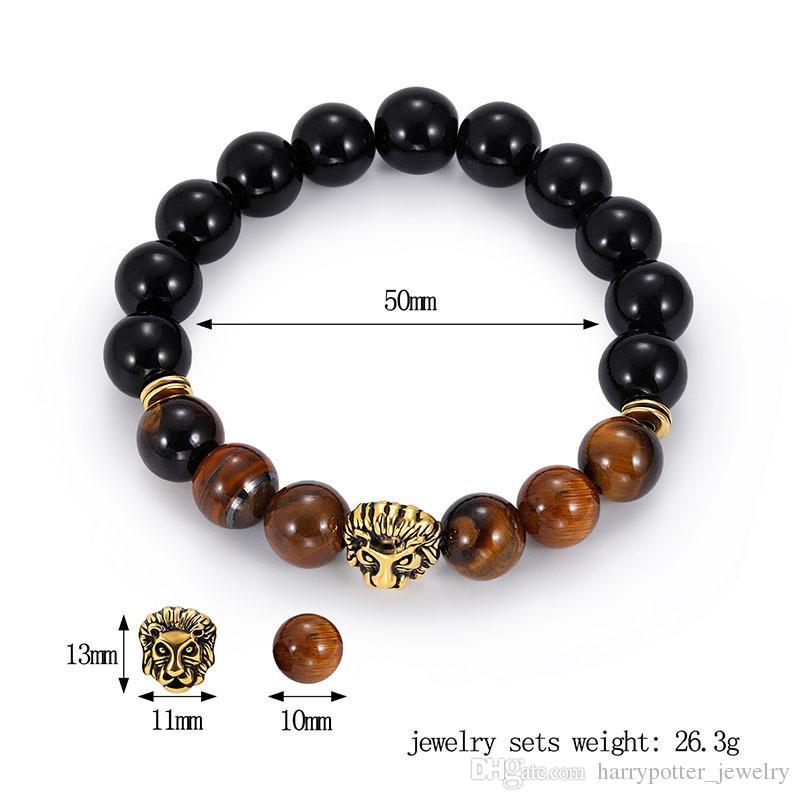 Tigre naturel oeil Pierre Pierre perles Bracelets pour hommes Charme Lucky Lion d'or Bracelets pour hommes Pierre Perles bracelet drop ship 320126