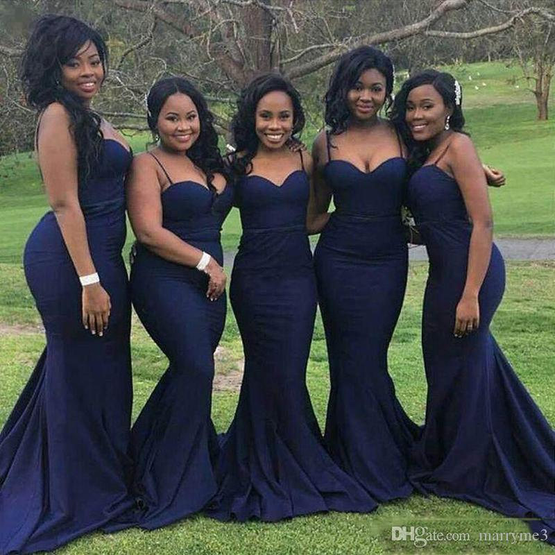 d8a6dc67199 Navy Blue Mermaid Bridesmaid Dresses Spaghetti Straps With Sweetheart Neck  Plus Size Formal Gowns For African Black Girls MB022 Duck Egg Blue  Bridesmaid ...