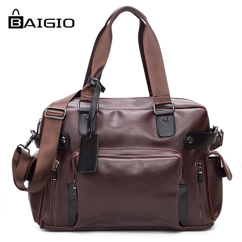 Baigio Men s Travel Bag High PU Leather Overnight Tote Duffle ... a113547efe0a5