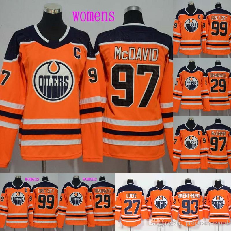 Lady Captain C Patch 97 Connor McDavid Edmonton Oilers Jerseys 27 Milan  Lucic 99 Wayne Gretzky 29 Leon Draisaitl Hockey Jerseys UK 2019 From  Projerseysword a51052f50