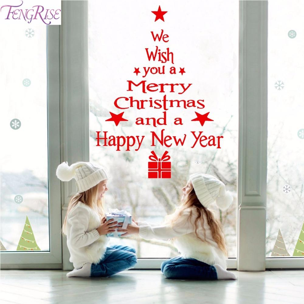 Outside Christmas Decorations 2019 FENGRISE Merry Christmas Wall Sticker Window Stickers Christmas
