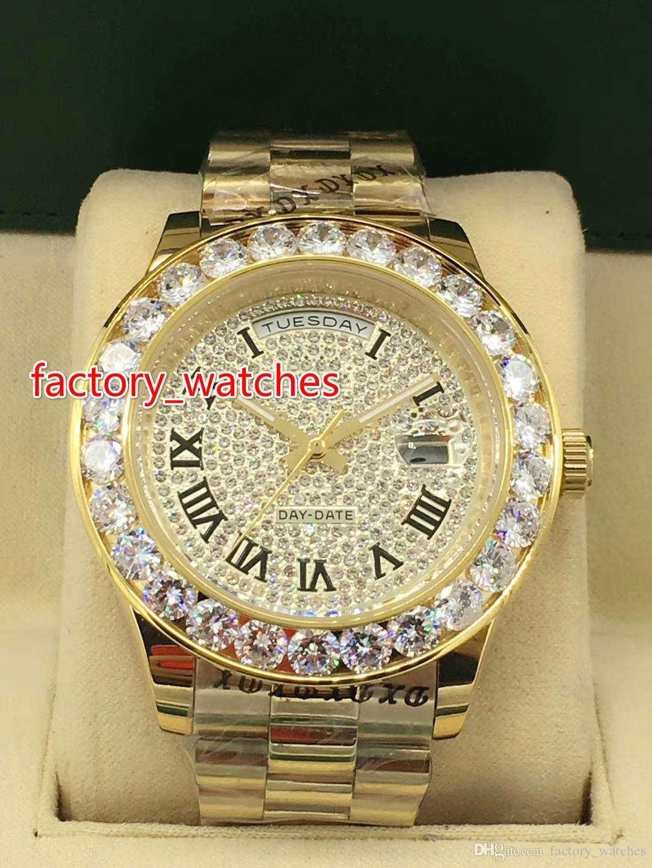 c1aad190f43973 Acquista AAA Luxury Brand Diamond Orologio Da Polso Con Stella Lucida Orologio  Meccanico Da Uomo Orologi 43 MM Di Grande Diamante Orologio In Oro Giallo A  ...