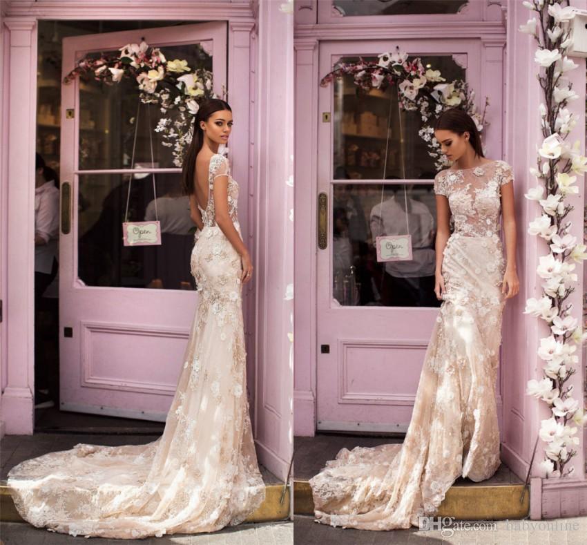 6f78ad55b2dd New Arrival 2019 Appliques Flowers Sheath Mermaid Wedding Dresses Sexy Low  Back Sheer Neck Cap Sleeves Sweep Train Bridal Gowns Online Wedding Dresses  ...