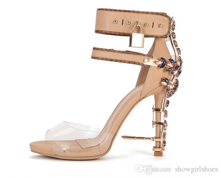 2018 Transparent PVC shoes Ankle Strap Women Pumps Rome Style Padlock High Heels Gladiator Sandals Studded Crystal Women Shoes