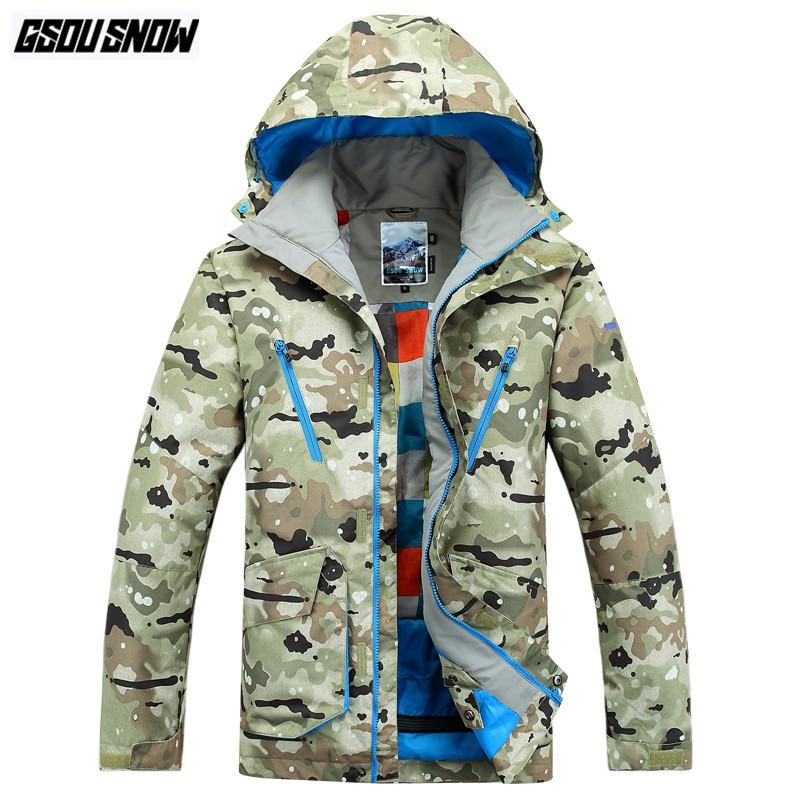 76dfc9ac31 2019 GSOU SNOW Brand Ski Jackets Men Camo Hoodie Skiing Snowboarding  Jackets Winter Waterproof Outdoor Sports Coats Male Snow Clothes From  Gqinglang