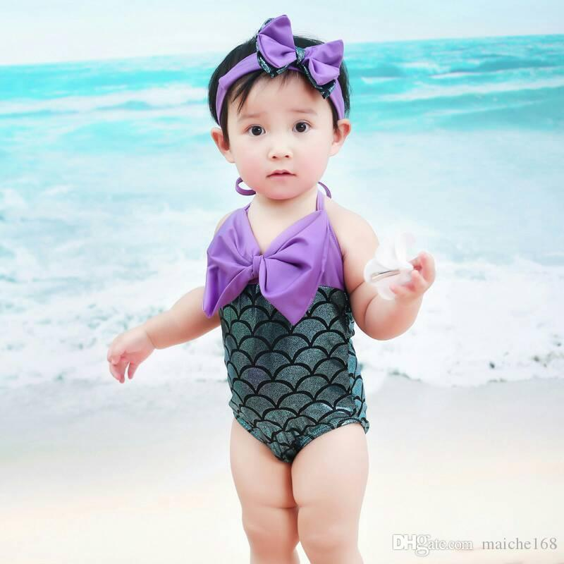 Mermaid Child Swimsuit Girl Princess Cute Baby Siamese Costume da bagno delle ragazze Swimwear Hairband