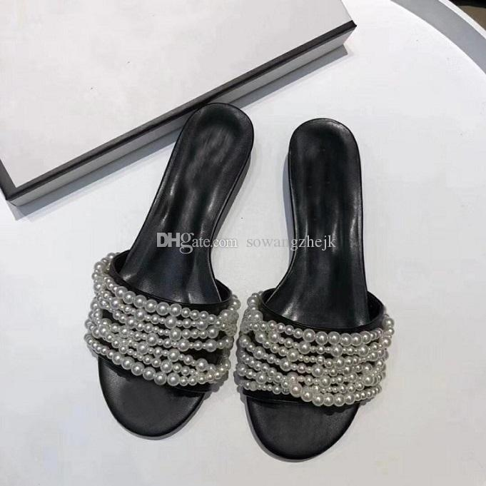 0652dcf1cd4 With Box 2018 New Europe And US Summer Cool Slippers New Fashion Bow Sandals  Beach Pearl Sandals Female Decorated Cheap Shoes For Women Buy Shoes Online  ...