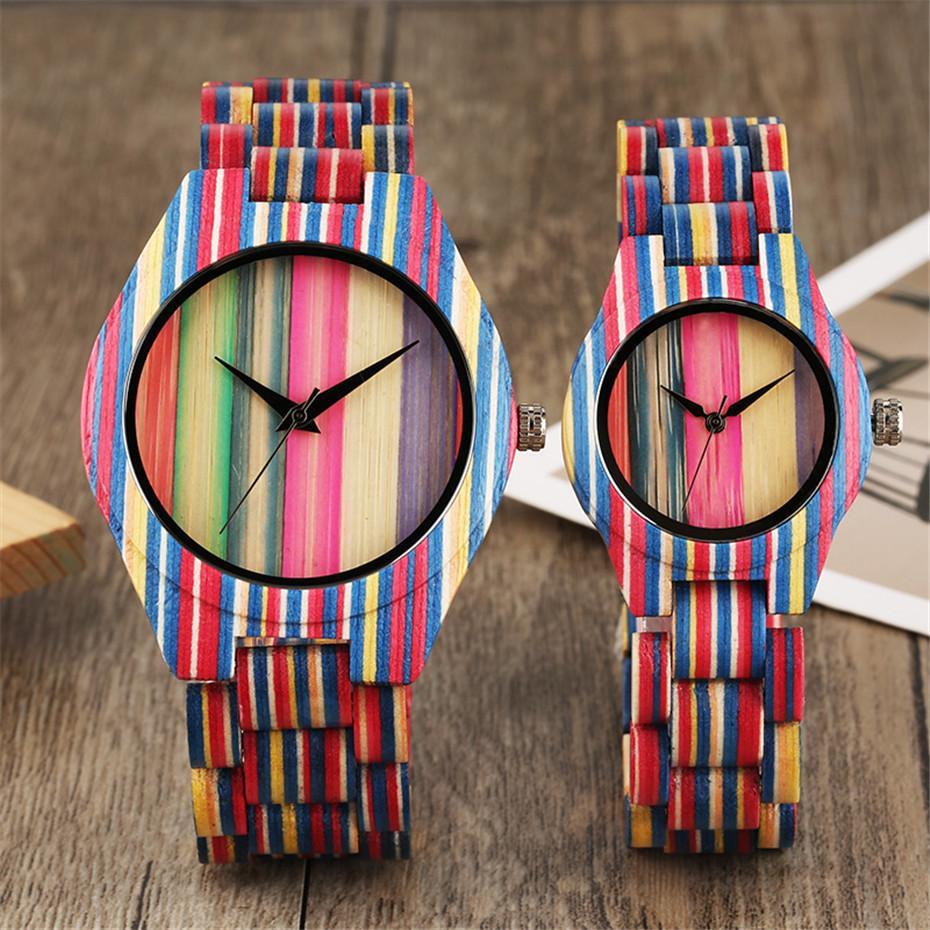 Grosshandel Einzigartige Bunte Streifen Bambus Uhren Fur Manner