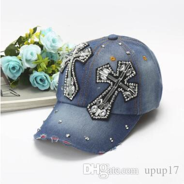 d2502abed32 Summer New Fashion Rivet Leisure Designer Cross Rhinestone Hats Women Men  Denim Super Quality Outdoor Sport Sun Hat Drop Shipping Online with   7.11 Piece on ...