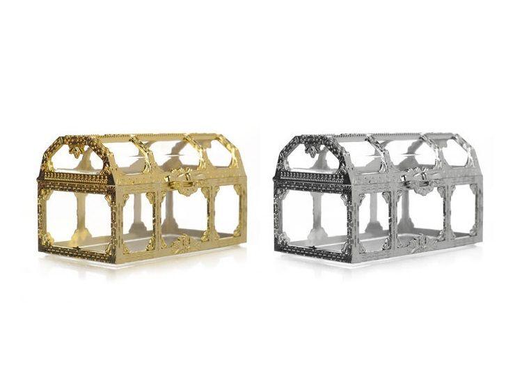 Schatztruhe Pralinenschachtel Gold Silber Transparent Kunststoff Hochzeitsbevorzugungskästen Baby Shower Geschenkbox
