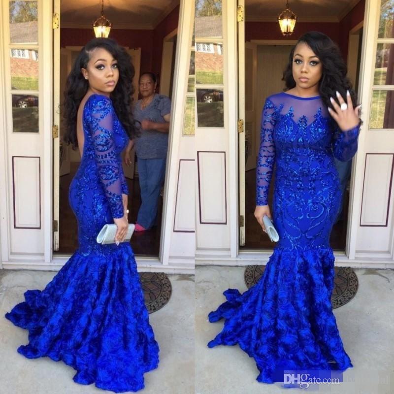 Royal Blue African Long Sleeves Prom Dresses Long Sheer Neckline 3d