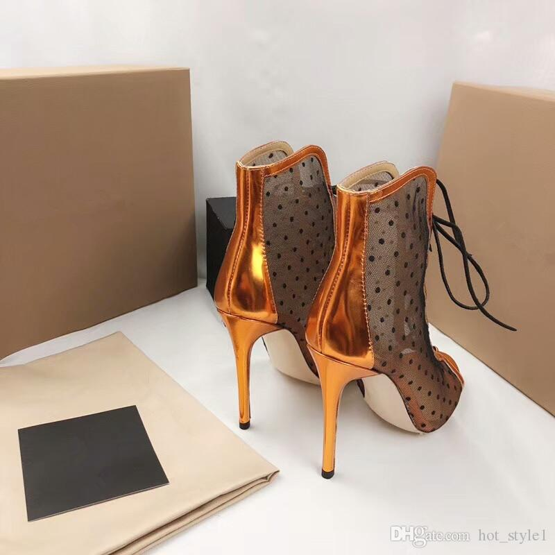 New Style Women Fashion Peep Toes Mesh Lace High Heel Women Stiletto Heel Hollow Out Lace Breathable Single High Heel Women Party shoes