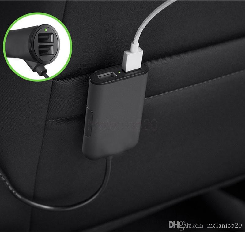4 Ports 2.4A USB Passenger Car Charger USB Fast Adapter with 5.6ft Extension Cord Cable for MPV Car Phone Ready Packed