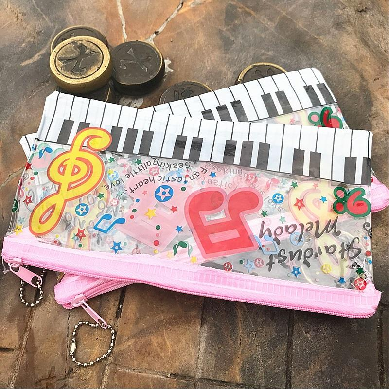 Piano Music Notation Transparent Creative Pencil Case Cute Girl Pencil Pouch Pen Storage Bag Stationery Supplies Gift ZA5812
