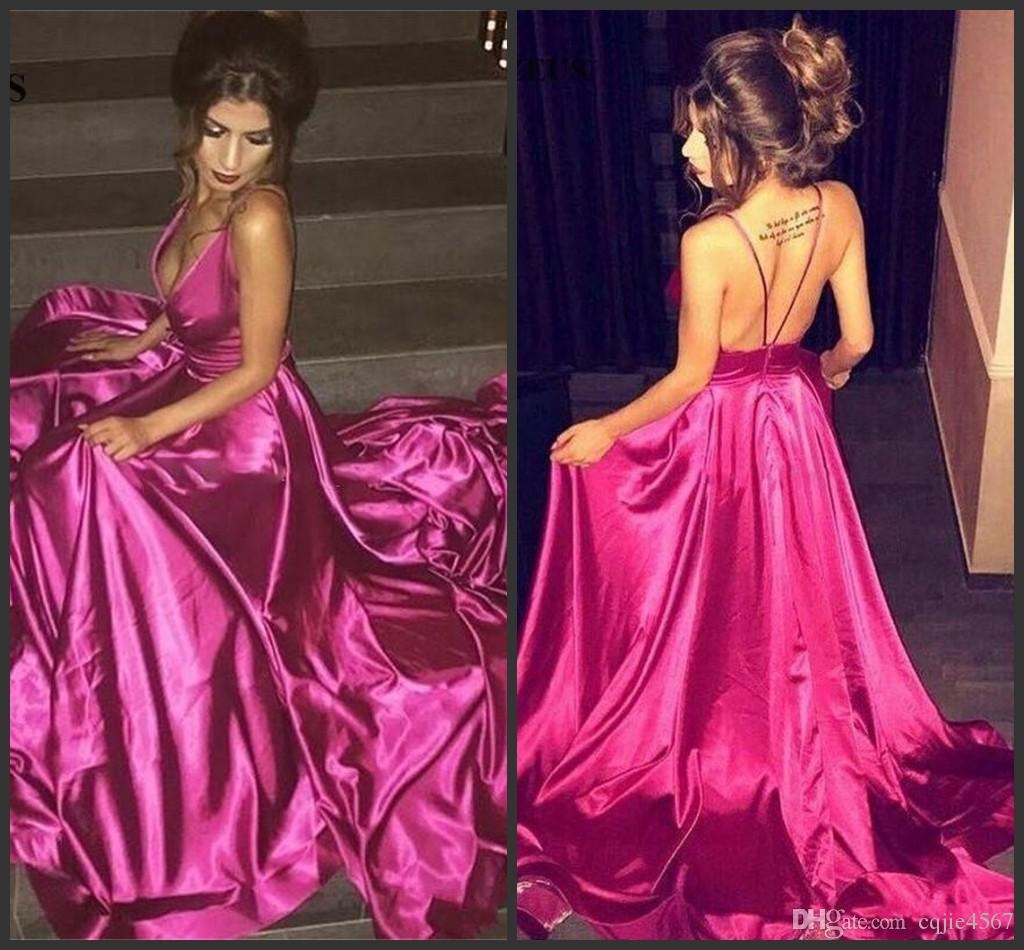 2018 New Fushia Deep V Neck Prom Dresses Sexy Spaghetti Backless Evening Gowns Satin Sweep Train Formal Party Dress Cheap Vestidos