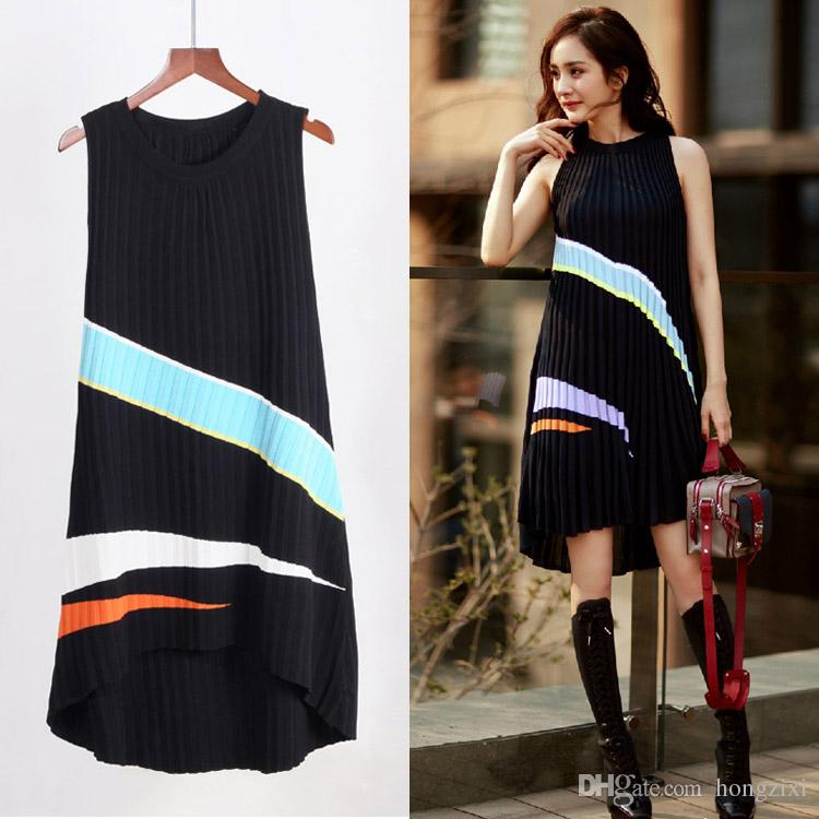 65797c83ad 2019 Women Knitted Jersey Dresses Sleeveless Summer High Waisted Draped  Office Jumper Dress Ladies Color Stripe Sweet Korean A Line Vestido Mujer  From ...