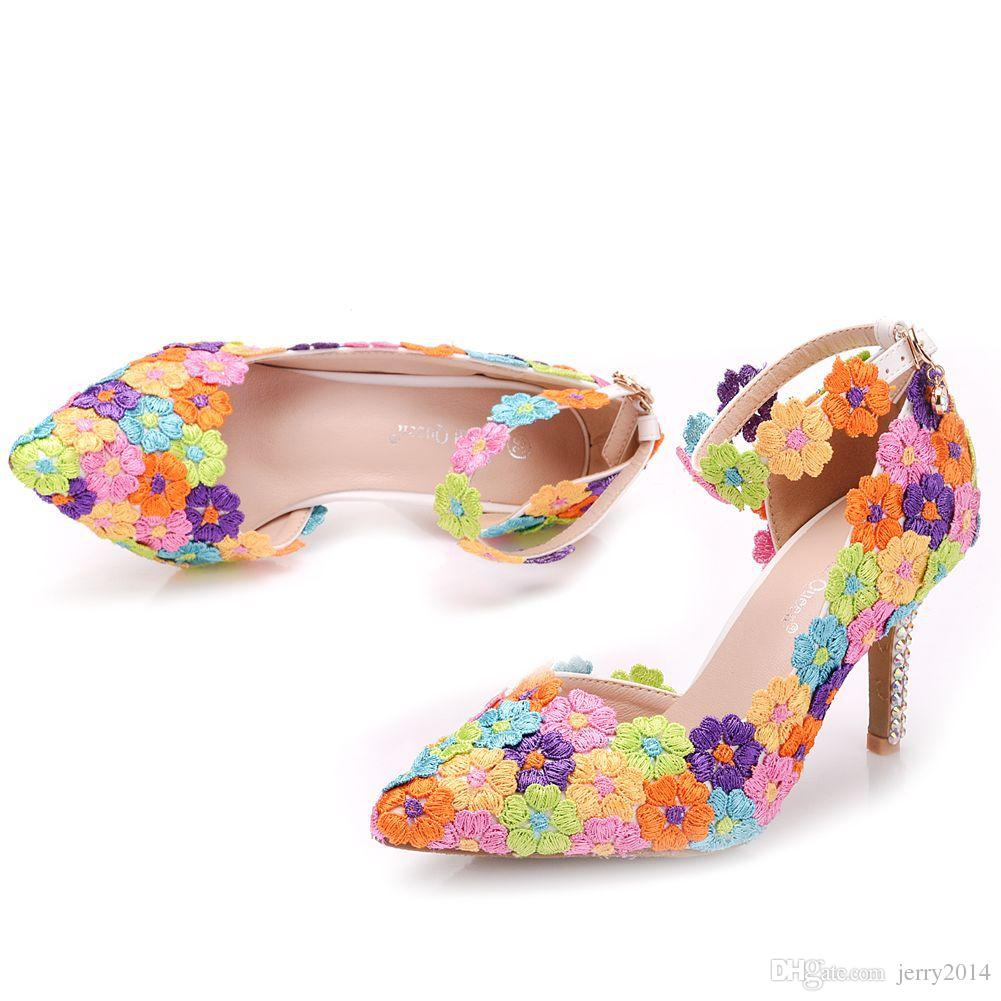 New Summer elegant pointed toe shoes for women multi lace flowers high heel wedding shoes crystal thick heels sexy Plus Size working Shoes