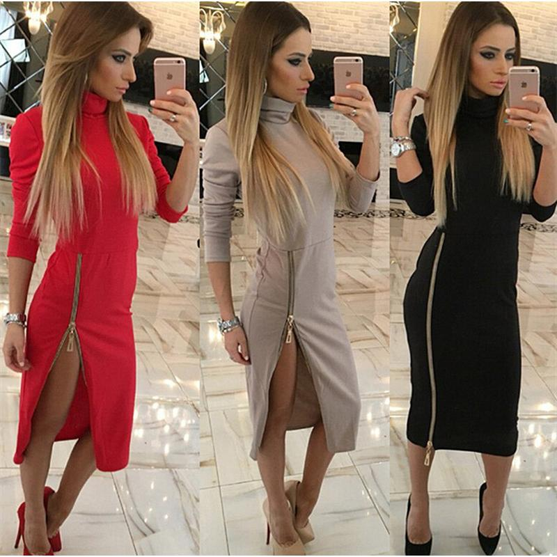bba8345de0ae3 High Neck New 2018 Autumn Women Casual Dress Side Zipper Up Split Sexy Party  Dresses Long Sleeve Straight Vestidos Tops Online with  33.44 Piece on ...