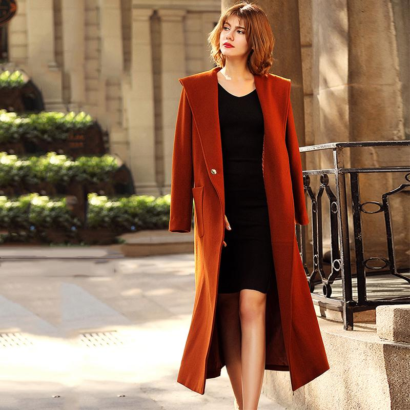 836a80cab4 2019 Hooded Women Wool Coat European Loose Straight Female Cashmere Coat  Maxi Long Spring Winter Outwear Jacket Woolen Overcoat G145 From Beenni