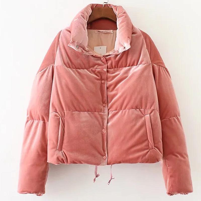 17cab9e60 Winter Women Cotton Puffer Parkas Padded Velvet Jacket Coat Solid Pink  Color Thick Long Sleeve Casual Puffer Jackets Clothing
