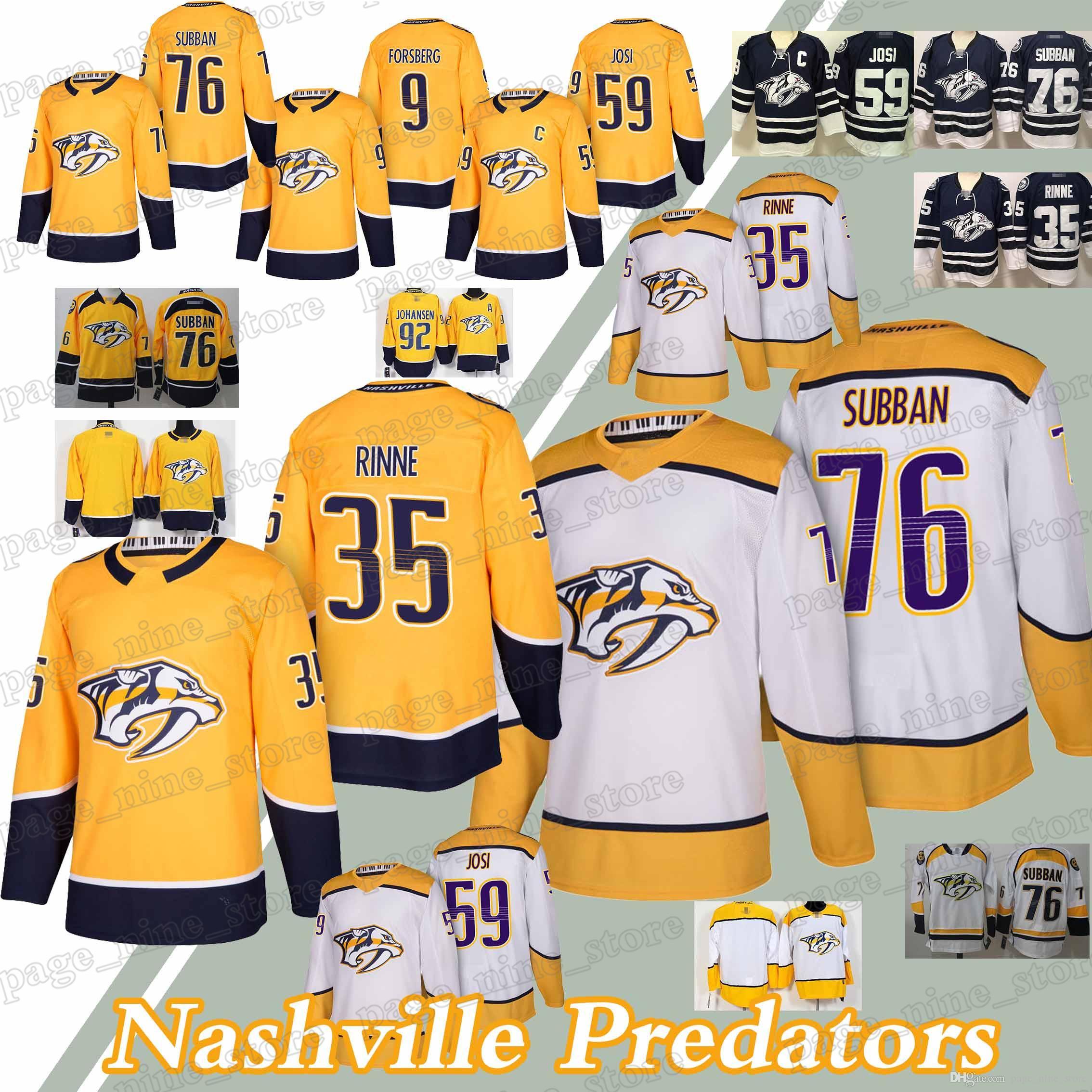 a1e07aea999 Nashville Predators Jerseys 35 Pekka Rinne 76 P.K. Subban 59 Roman ...