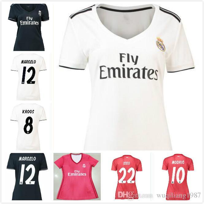 9306c451bd699 2018 2019 Real Madrid Soccer Jersey 18 19 Mujeres Local Blanco Visitante  Negro Maillot De Foot BALE RAMOS ISCO MARCELO ASENSIO KROOS Camisetas De  Fútbol Por ...