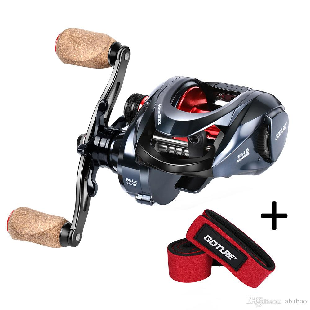 Goture Ares Max Drag Power 10kg 22lbs Baitcasting Reel Left Right Barrel Swivel With Interlock Snap Pioneer No 5 7 Wooden Handle Magnetic System Saltwater Fishing Reels Sea