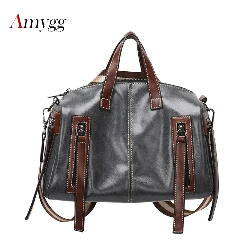 Women Top-Handle Bags High Quality PU Leather Women Messenger Bags Double Zipper Large Capacity Shoulder For Woman Handbags