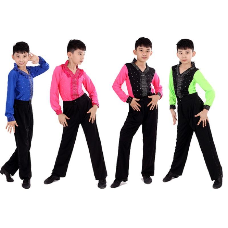 4b2a0d7399e7f Compre Salón De Baile Ragazzo Para Hombre Danza Rosa Blanca Para Niños  Camisas De Baile Latino Camisa De Hombres Niños Tango Niños Pantalones  Superiores Con ...